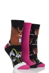 Ladies 3 Pair SockShop Just For Fun Squirrel Cotton Socks In Gift Box