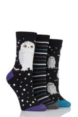 Ladies 3 Pair SockShop Just For Fun Snow Owl Cotton Socks In Gift Box
