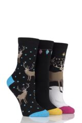 Ladies 3 Pair SockShop Just For Fun Reindeer Cotton Socks