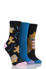 Ladies 3 Pair SockShop Just For Fun Gingerbread Man Cotton Socks