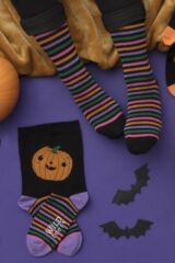Ladies 3 Pair SockShop Wild Feet Pumpkin Cotton Socks Leading Image