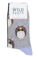 Ladies 3 Pair SockShop Wild Feet Owl Novelty Cotton Socks Packaging Image