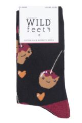 Ladies 3 Pair SOCKSHOP Wild Feet Toffee Apple Novelty Cotton Socks Packaging Image