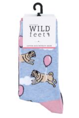 Ladies 3 Pair SockShop Wild Feet Balloon Pug Cotton Socks Product Shot