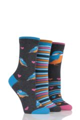 Ladies 3 Pair SockShop Just For Fun Kingfisher Cotton Socks