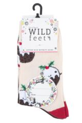 Ladies 3 Pair SOCKSHOP Wild Feet Xmas Pudding Cotton Socks Packaging Image