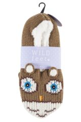 Ladies 1 Pair SockShop Wild Feet Fleece Lined Knitted Slippers Product Shot