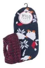 Ladies 1 Pair SockShop Wild Feet Christmas Themed Knitted Bootie Slippers Packaging Image