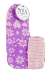 Ladies 1 Pair SockShop Wild Feet Heart Fairisle Knitted Fleece Lined Bootie Slippers Packaging Image