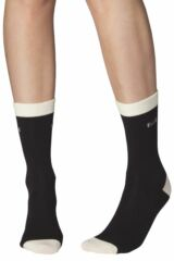 Ladies 3 Pair Elle Combed Cotton Plain Socks with Contrast Heel and Toe Leading Image