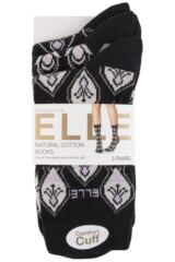 Ladies 3 Pair Elle Patterned Cotton Socks Product Shot