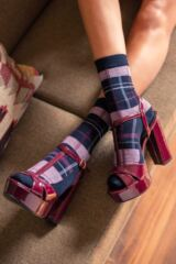 Ladies 3 Pair Pringle Tartan Cotton Socks Leading Image