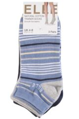 Ladies 3 Pair Elle Bright Striped Cotton Trainer Socks Product Shot