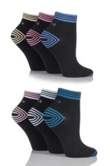 Ladies 6 Pair Elle Non Cushioned Sports Socks With Contrast Heel and Toe SAVE £7.00