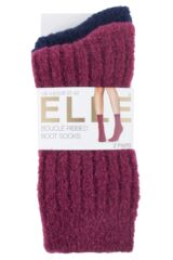 Ladies 2 Pair Elle Bouclé Boot Socks Packaging Image