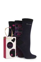 Ladies 3 Pair Elle Gift Boxed Cotton Floral Dot, Spot and Striped Patterned Socks
