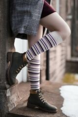 Ladies 2 Pair Elle Striped Cotton Knee High Socks Leading Image