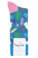 Mens and Ladies 1 Pair Happy Socks Christmas Tree Combed Cotton Socks Packaging Image