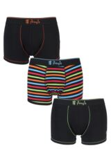 Mens 3 Pack Pringle Plain and Bright Stripe Cotton Trunks