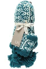 Ladies 1 Pair Urban Knit Fairisle Bootie Non Slip With Large Tassle 25% OFF This Style Product Shot