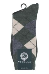 Mens 1 Pair Viyella Short Wool Argyle Socks Made In England Product Shot