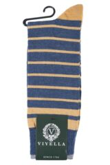 Mens 1 Pair Viyella Half Striped Wool Cotton Socks Product Shot