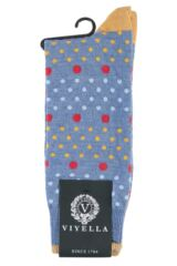 Mens 1 Pair Viyella Multi Spot and Dot Wool Cotton Socks Packaging Image