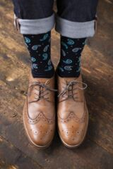 Mens 1 Pair Viyella Paisley and Dot Wool Cotton Socks Leading Image