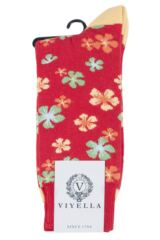 Mens 1 Pair Viyella Flower Patterned Cotton Socks Product Shot
