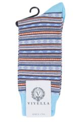 Mens 1 Pair Viyella Fairisle Patterned Cotton Socks Product Shot