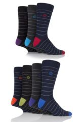 Mens 7 Pair Jeff Banks Exeter Narrow Stripes Cotton Socks