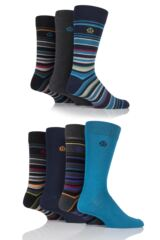 Mens 7 Pair Jeff Banks Swindon Multi Stripe and Plain Cotton Socks