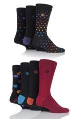 Mens 7 Pair Jeff Banks Swindon Dots, Spots and Plain Cotton Socks
