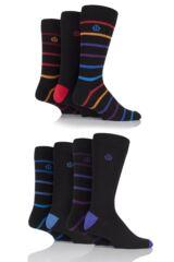 Mens 7 Pair Jeff Banks Derby Plain and Stripe Cotton Socks