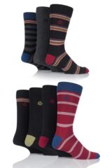 Mens 7 Pair Jeff Banks Bristol Varied Striped and Plain Cotton Socks