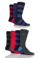 Mens 7 Pair Jeff Banks Altrincham Block Striped and Plain Cotton Socks