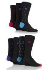 Mens 7 Pair Jeff Banks Andover Spots and Diamonds Cotton Socks