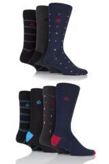 Mens 7 Pair Jeff Banks Hastings Squares, Plains and Stripes Cotton Socks