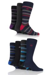 Mens 7 Pair Jeff Banks Aldgate Plain and Multi Stripe Cotton Socks
