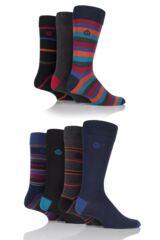 Mens 7 Pair Jeff Banks Bankside Mixed Stripe and Plain Cotton Socks