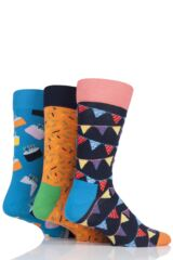 Mens and Ladies 3 Pair Happy Socks Happy Birthday Socks in Cake Gift Box Leading Image