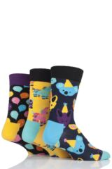 Mens and Ladies 3 Pair Happy Socks Party Animal Socks in Musical Gift Box Leading Image