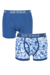 Mens 2 Pack Dare to Wear Fitted Keyhole Trunks with Exclusive Cracked Ice Art Design