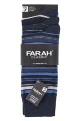 Mens 3 Pair Farah Classic Deluxe Striped Cotton Socks Product Shot