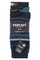 Mens 3 Pair Farah Classic Luxury Stripe Cotton Socks Packaging Image
