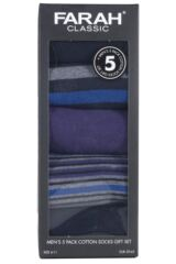 Mens 5 Pair Farah Gift Boxed Plain and Striped Cotton Socks Packaging Image