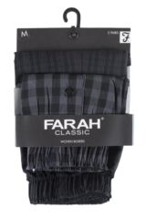 Mens 2 Pack Farah 100% Cotton Checked Woven Boxers In Black Product Shot