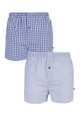 Mens 2 Pack Farah Classic 100% Cotton Check Woven Boxer Shorts In Purple
