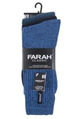 Mens 3 Pair Farah Cushioned Foot Plain Boot Socks Packaging Image