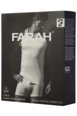 Mens 2 Pack Farah Classic 100% Cotton Vests Packaging Image